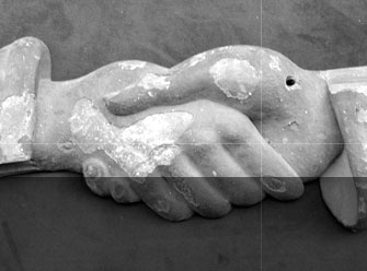 Hands of Fidelity sculpture, San Francisco Masonic Temple, destroyed by fire in 1906 (c. late 19th century)